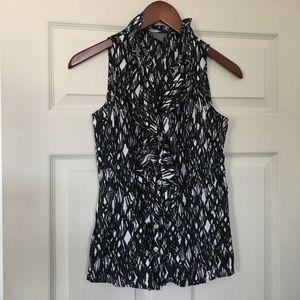Ann Taylor sleeveless career black/white blouse 4